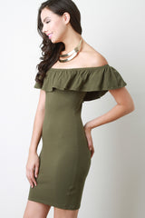 Ruffle Off the Shoulder Bodycon Dress