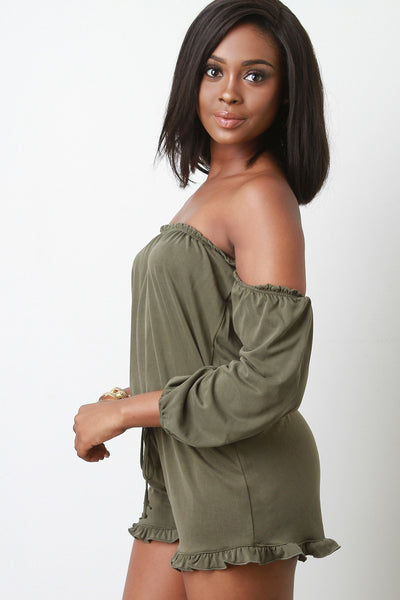 Off the Shoulder Long Sleeves Romper