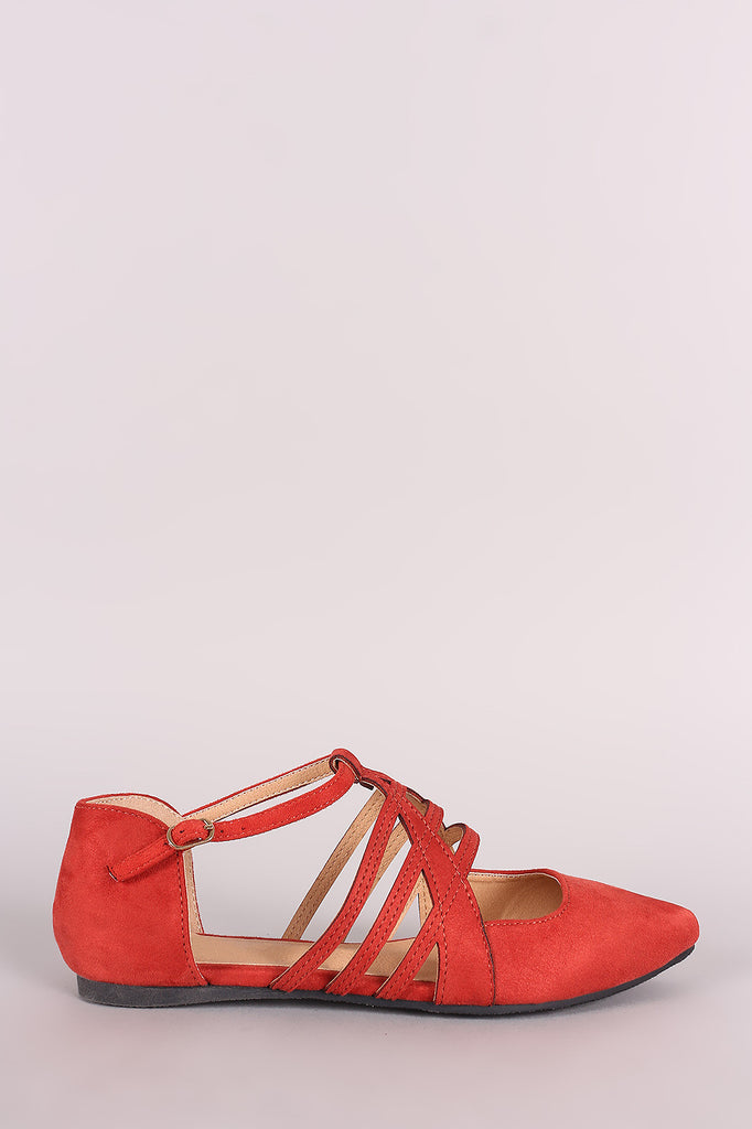 Suede Caged Pointy Toe Flat