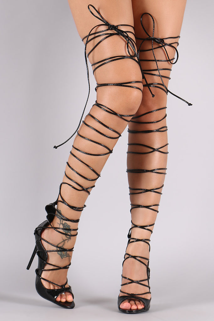 Snake Thigh High Lace Up Heel
