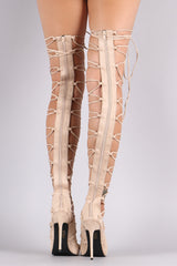 Suede Thigh High Lace Up Heel