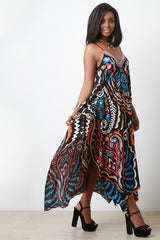 Colorful Print Asymmetrical Hem Maxi Dress