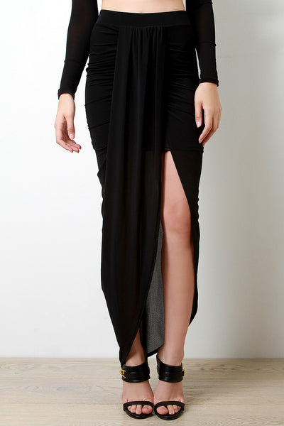 Semi-Sheer Mesh Ruched Draped Skirt