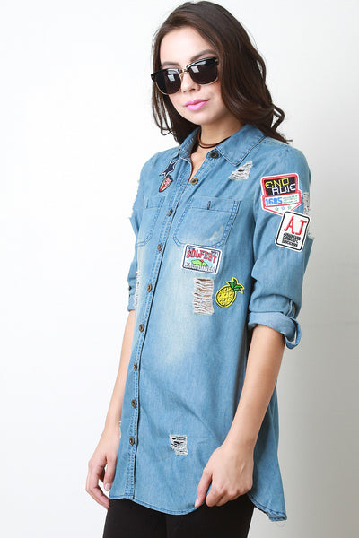Chambray Button Up Patch Top