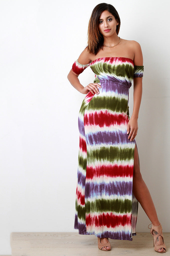 Striped Tie Dye Off The Shoulder Band Sleeves Dress