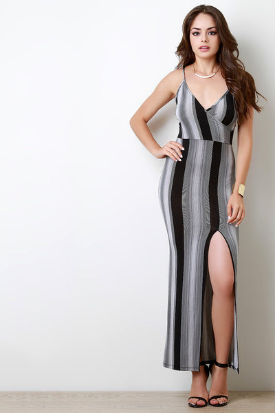 Multipattern Stripe Surplice V-Neck Maxi Dress