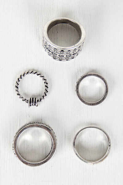 Antique Silver-Tone Ring Set