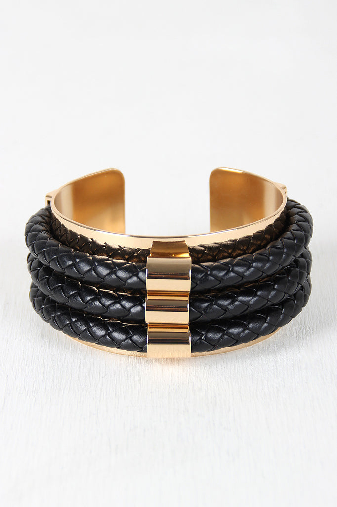 Edgy Braided Vegan Leather And Metal Cuff