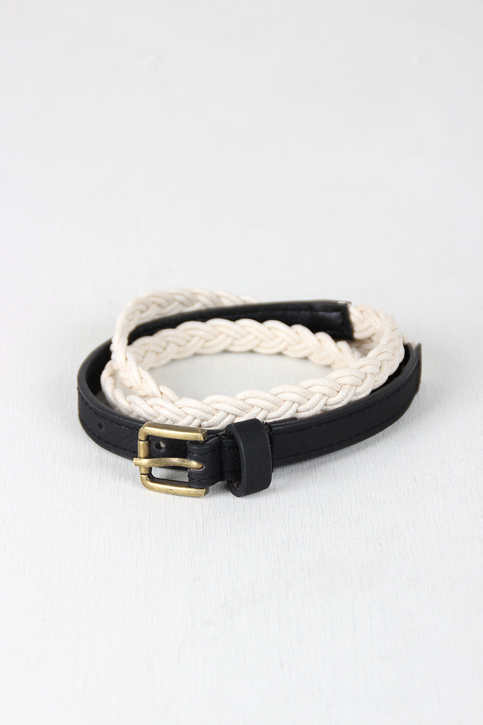 Nautical Braided Rope Skinny Belt