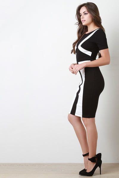 Contrast Geo Midi Bodycon Dress
