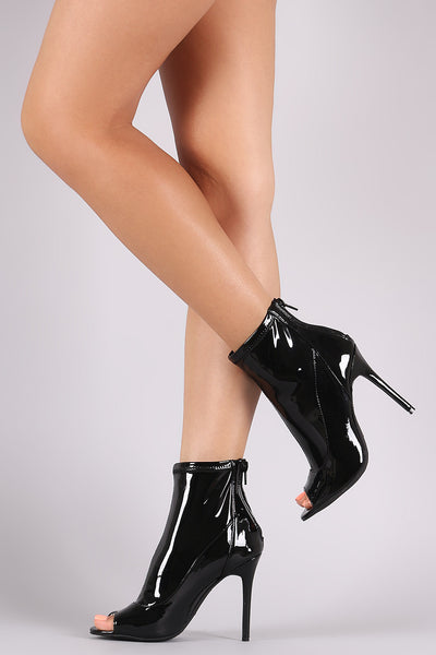 Anne Michelle Shiny Peep Toe Stiletto Booties - JDI Threads
