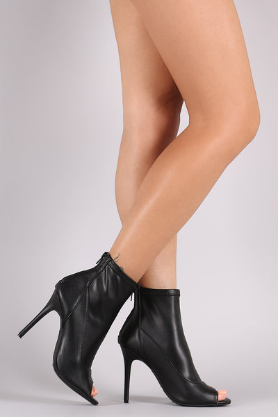 Anne Michelle Peep Toe Stiletto Booties - JDI Threads