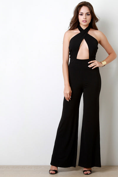 Crisscross Band Halter Neck Sleeveless Jumpsuit