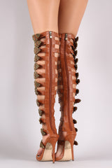 Strappy Buckled Grommets Thigh High Gladiator Heel