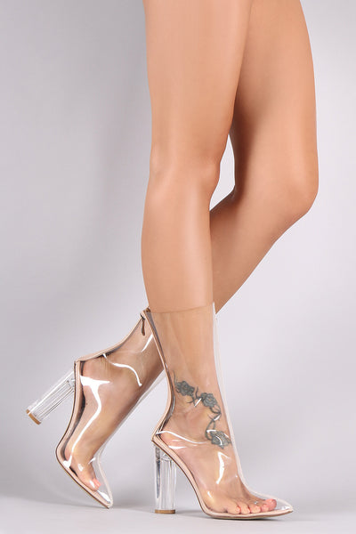 Lucite Pointy Toe Round Heeled Mid Calf Boots