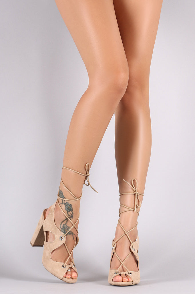 Wild Diva Lounge Suede Wavy Cutouts Lace Up Heel
