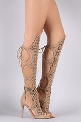 Shoe Republic LA Geometric Cutouts Back Lace-Up Gladiator Heel