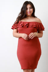 Off The Shoulder Layer Ruffle Bodycon Dress