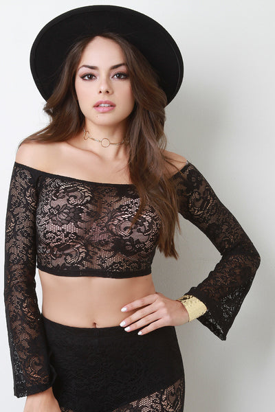 Bardot Floral Lace Bell Sleeves Crop Top