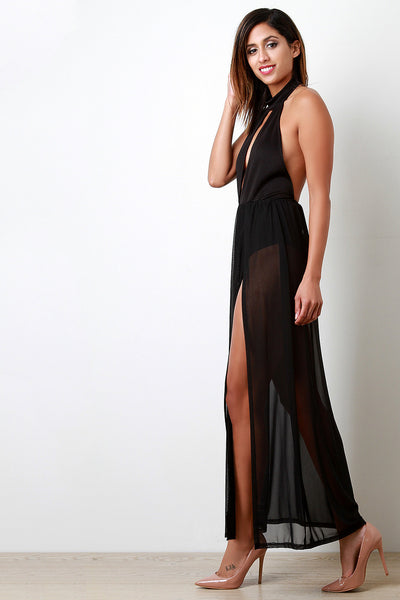 Bare Back Contrast Mesh Maxi Dress