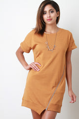 Knit Asymmetrical Zipper Shift Dress