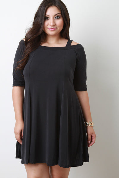 Elbow Sleeve Cold Shoulder Shift Dress