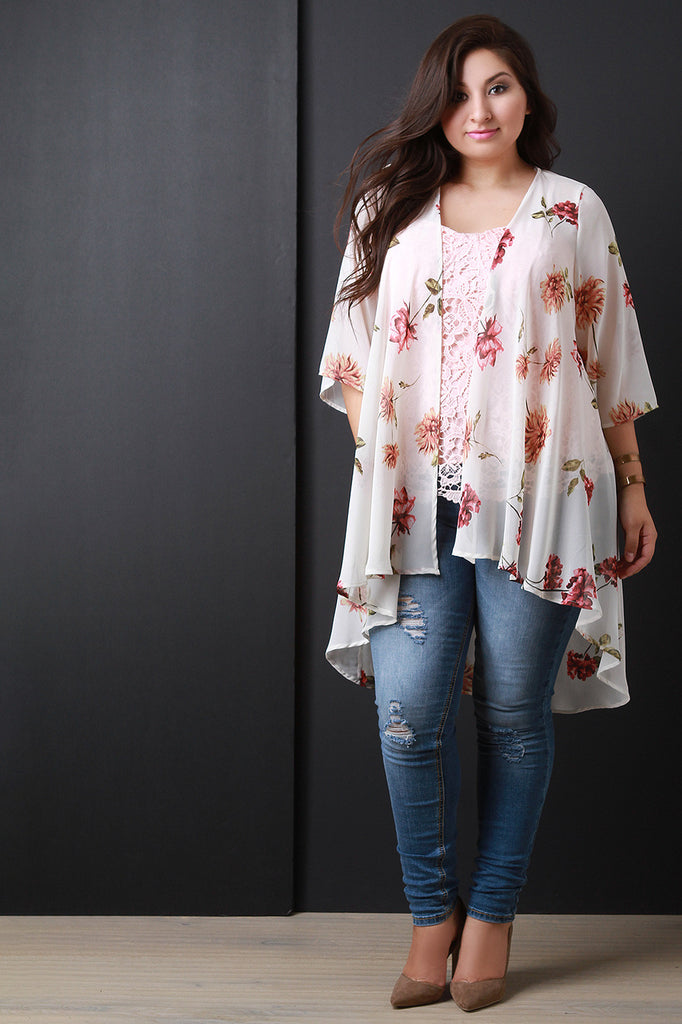 3a92536e5f2 Floral chiffon open front high low cardigan