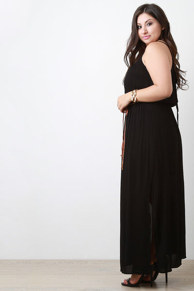 Belted Surplice Back Sleeveless Maxi Dress