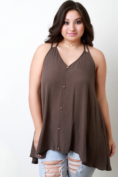 Button Accent V-Neck Tunic Top