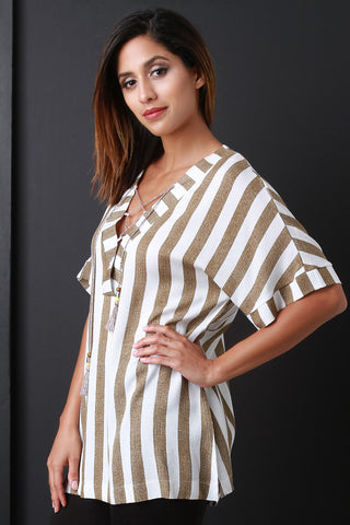 V-Neck Tassel Lace-Up Short Sleeve Stripe Boxy Top