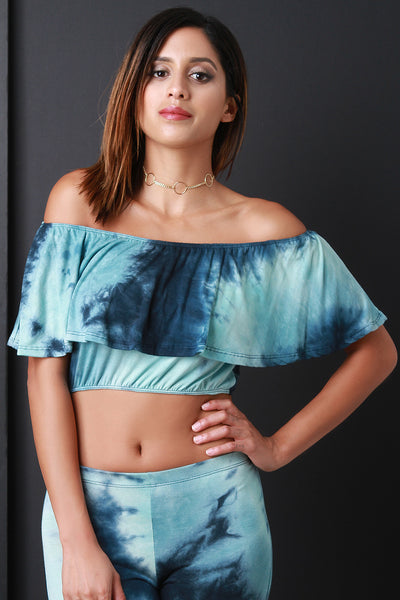 Boho Tie Dye Ruffle Off-The-Shoulder Crop Top