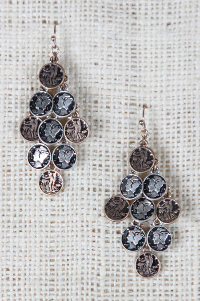Greek Coin Chandelier Earrings