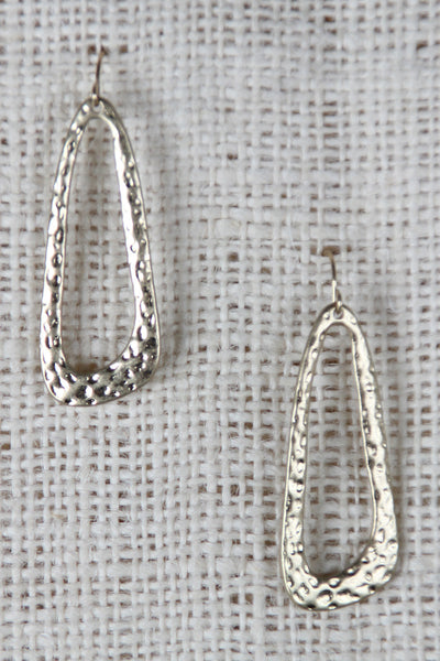 Hammered Open Drop Earrings