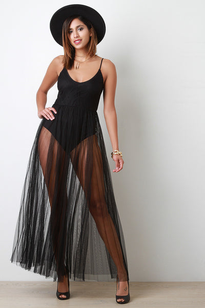 Pleated Semi Sheer Mesh Skirt Bodysuit Stlye Dress