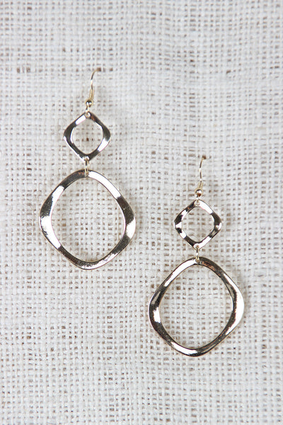 Double Organic Circle Dangle Earrings