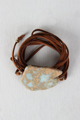 Organic Stone And Vegan Leather Cord Wrap Bracelet