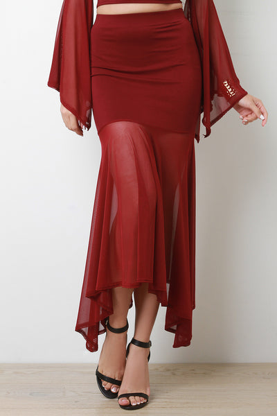 Semi Sheer Maxi Fit And Flare Skirt