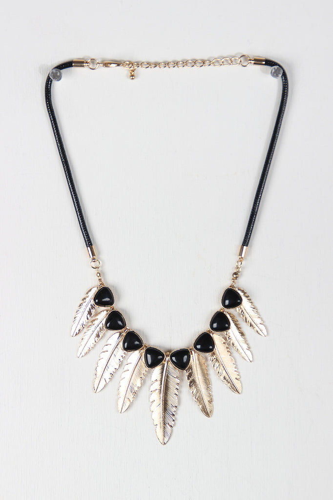 Gold Feather Bohemian Statement Necklace Set