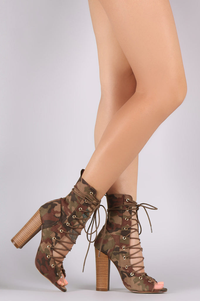 Liliana Camouflage Corset Lace Up Chunky Heeled Booties