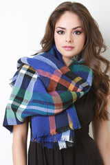 Multi Colored Frayed Hem Plaid Blanket Scarf