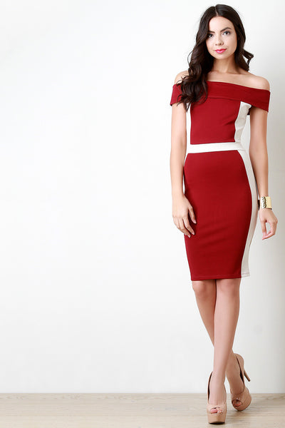 Banded Off The Shoulder Color Block Midi Dress