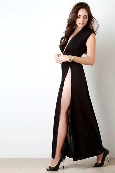 Plunging V Wide Shoulder High Slit Dress