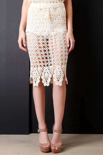 Crochet Knit Scallop Hem Midi Skirt