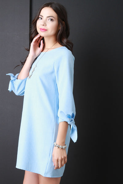 Bow Quarter Sleeve Shift Dress
