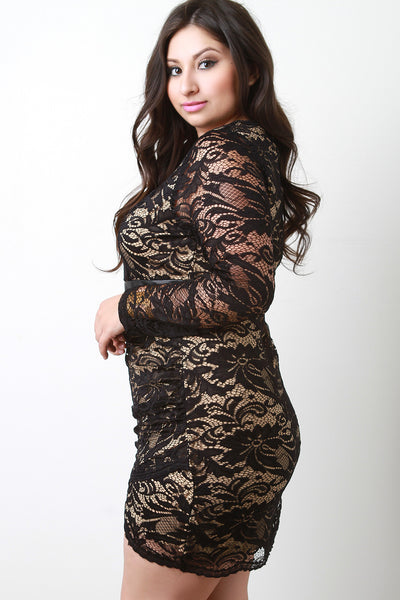 Floral Lace Overlay Longsleeve Bodycon Dress