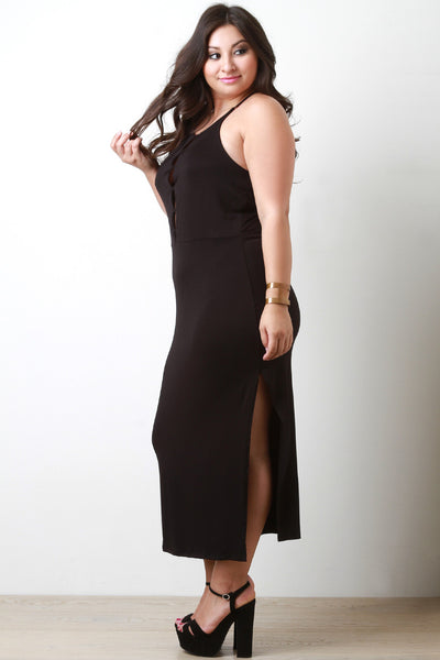 Cut Out Caged Sleeveless Maxi Dress