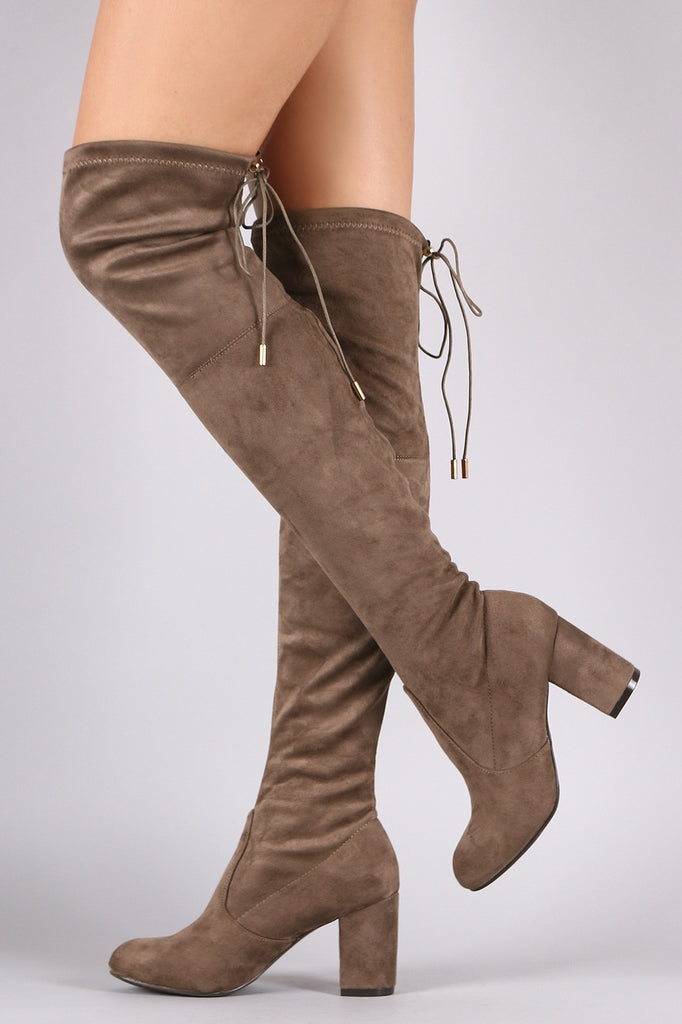 Suede Drawstring Tie Chunky Heeled Over-The-Knee Boots