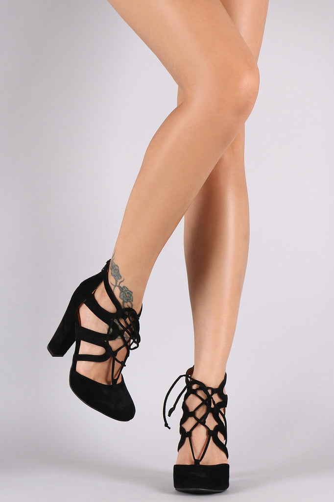 Shoe Republic LA Suede Caged Lace Up Chunky Heeled Pump