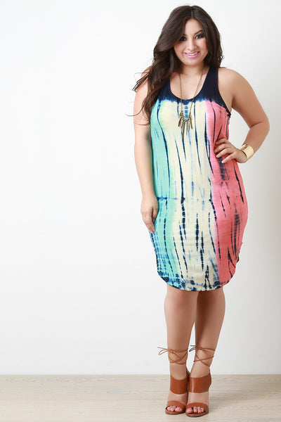 Colorful Tie Dye Scoop Neck Tank Dress