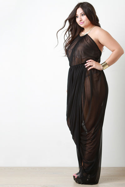 Draped Semi-Sheer Mesh Sleeveless Open Back Necklace dress